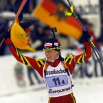 GERMANY'S MARTINA ZELLNER CELEBRATES AFTER THE WOMEN'S RELAY BIATHLON RACE IN RUHPOLDING.